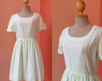 Mini Dress Vintage 1980s Dress 80s Dress Sundress Day Dress Japanese Dress Light Green Dress With Short Sleeve