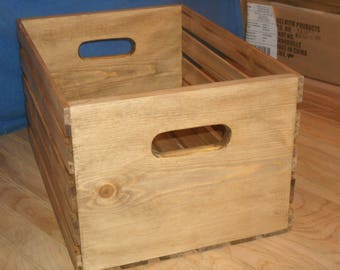 """18""""wood crate FREE SHIPPING, wooden crate,  shelving crate,display crate, crate,wooden storage crate, storage crate walnut stain"""