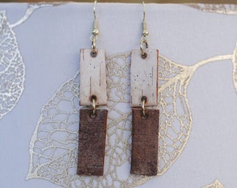 Long Earrings|Linked|Birch Bark|Natural Materials|Gift for Her|Bridal|Woodsy|Elegant|Handmade|Sustainably Harvested
