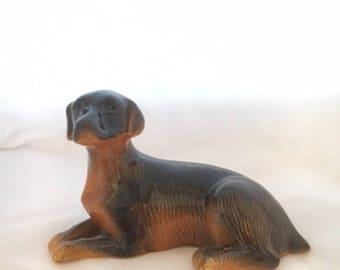 Vintage Brown/Black Ceramic Dog Figurine