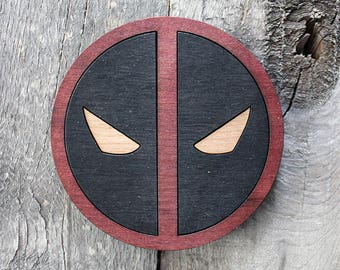 Deadpool Wood Coaster | Rustic/Vintage | Hand Stained and Glued | Comic Book Gift |