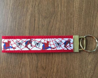 Spiderman Key Chain Zipper Pull Wristlet