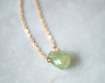14K gold plated water drop shaped olive green natural stone gemstone pendant necklace cut surface by East Link jewellery design