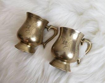 Vintage Brass Cups // Vintage Vase // Boho Decór