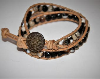 Beaded double wrap leather bracelet