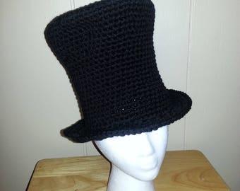 Crocheted Black Top Hat