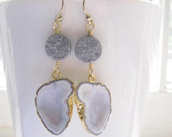 White Druzy Earrings, Geode Earrings, White and Silver, Druzy Coins, Gold Filled, Raw Geodes, Gift for Her, White Geodes