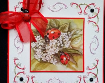 embroidered card, ladybug and flowers 1 image