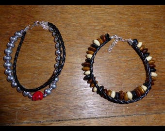Bead and faux leather bracelet