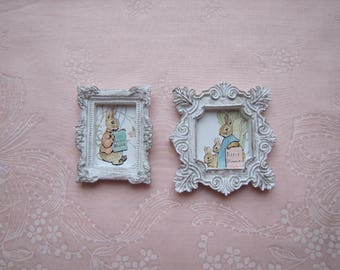 2 Miniature Doll House Framed Beatrix Potter Bunny Easter Pictures