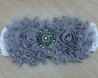 Baby Girl Headband, Shabby Headband, Flower Headband, Gray Headband, Baby Hair Accessory, Baby Headband, Infant Headband, Newborn Headband