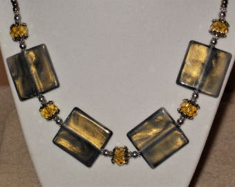 Gray & Gold Shimmer Squares Necklace and Earrings