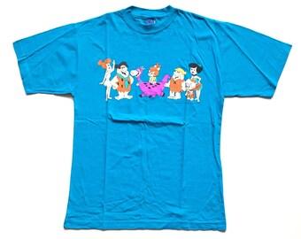 Vintage 1993 The Flinstones teal turquoise t shirt Hanna Barbera Paramount Canada's Wonderland flintstones shirt size small unisex adult