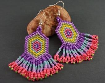 Beaded earrings Girlfriend Gift|For|Girl Long earrings Dangle earrings Pink earrings Lilac earrings Cute earrings chandelier earrings
