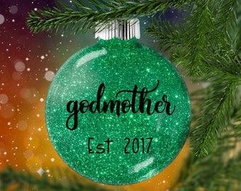 Godfather Godmother Ornament, Godparent  Shatter Resistant Glass,  Pregnancy Reveal Announcement, Elder Holiday Christmas Gift for Woman Man