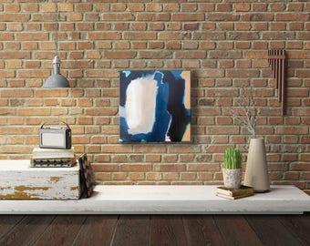 Abstract Acrylic Painting Original on Canvas - Glimmer of Hope, indigo blue , tan, black, wall art, gallery wall, wall decor, modern art