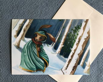 RABBIT IN WOODS All Occasions Greeting Card Fantasy Magic Winter Snow Rabbit