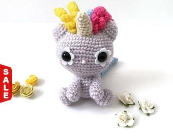 Sale -  Amigurumi Unicorn Cat Amigurumi Cat Doll Crochet Cat Doll Crochet Unicorn Doll Kids Toy Nursery Decor Birthday Gift for Her