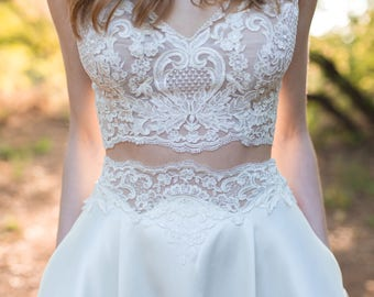 Elegant Wedding Dress, Two Piece, Wedding Dress, Bridal Dress, Lace Top, Full Skirt, Lace Sleeves, Pocket Dress, Cap Sleeves, Low Back, Boho