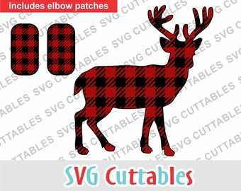 Deer svg, Buffalo plaid deer SVG, EPS, DXF, plaid svg, plaid elbow patches svg, Silhouette file, Cricut cut file, digital download