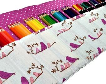 Bird Pencil Case, Holds up to 60 Color Pencils