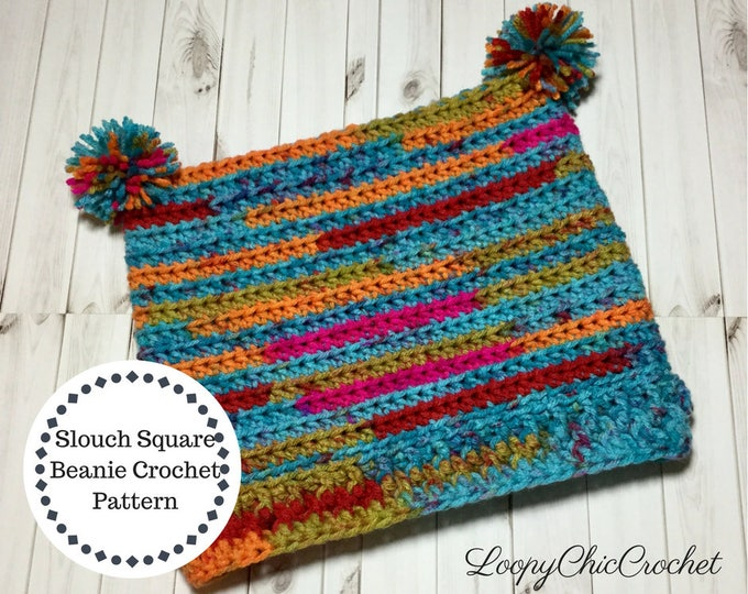 Square Slouchy Beanie Crochet Pattern, Rainbow Slouchy Hat Pattern