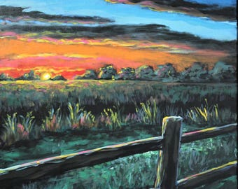 Bright Sunset on the Farm Acrylic Painting