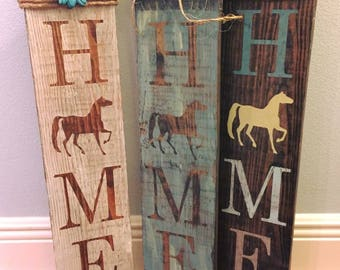 Horse Home Sign - Welcome - Horse sign - Home sign with Horse - Wooden home sign - Horse wooden sign - Ranch sign - Pony Sign - Farm Sign