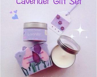 Gift Set, Lavender, Ylang Ylang, Handmade soap, soy wax candle, tin candle