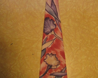 Awesome 1940s Hand Painted Bold Abstract Floral Swing Tie