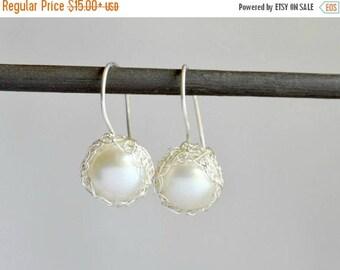ON SALE Crochet pearl dangle earrings - sterling silver, bridal jewelry