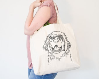 Mo the Newfoundland Dog Canvas Tote Bag - Gifts For Dog Owner, Leonberger, Great Pyrenees