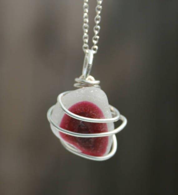 CLARET MULTI SEAGLASS Pendant - seaglass and silver
