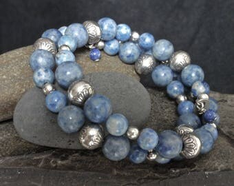 Vintage Carolyn Pollack / Carlisle Jewelers Stamped Sterling Silver and Lapis Lazuli Beads Flexible Wrap Bracelet