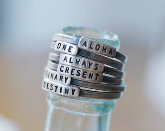 personalized ring, custom name ring, handstamped sterling silver ring, Mother's ring