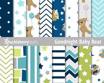 80% OFF SALE Teddy Bear Digital Paper, Teddy Bears, Digital Scrapbook Paper, Seamless Patterns, Printable, Commercial Use