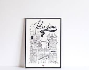 Paris IV / A4 / Docteur Paper / Travel With Me / Illustration / Voyage / Affiche / Ville / Décoration murale / Noir et Blanc / Map / Design