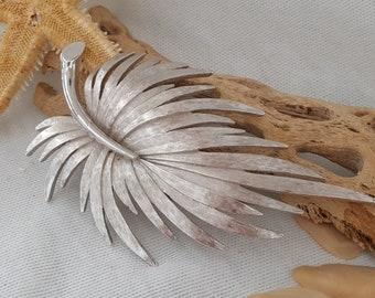 Monet Brushed Silvertone Palm Leaf Brooch