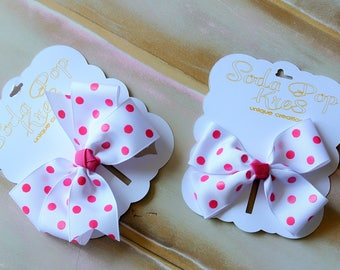 Ribbon Pink Polka Dot Hair bows