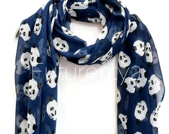Cute Panda Navy Blue Scarf / Spring Summer Scarf / Autumn Scarf / Women Scarves / Gifts For Her / Women Scarves / Handmade Accessories