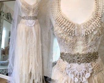 Bohemian wedding dress made in Denmark, boho bridal gown spectacular,ethereal  wedding dress handmade , organic wedding ecofriendly,rawrags