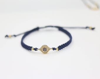 sideway rhinestone pave evil eye bracelet bohemian stackable bracelet handmade friendship bracelet boho chic jewelry lucky charm bracleet