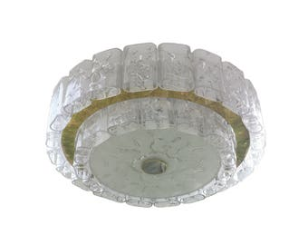 Mrano Glass 1960s Mid-Century Modernist Flush Mount by Doria