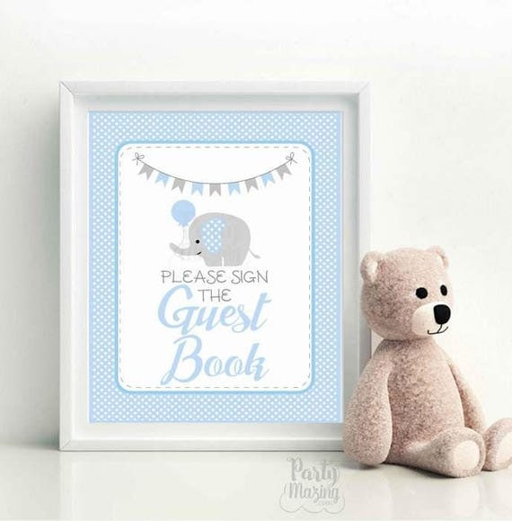 Guest Book Party Sign, Printable Party, Pink and Gray Elephant Printable Party Sign, Diy Sign, Instant Download -D939 BBEB1