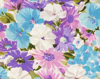 Vintage '70s Flower Power Twin Flat Sheet Purple White Cerulean Sky Blue Floral Retro Hippie Glamper Cotton Quilting Craft Fabric Eatons