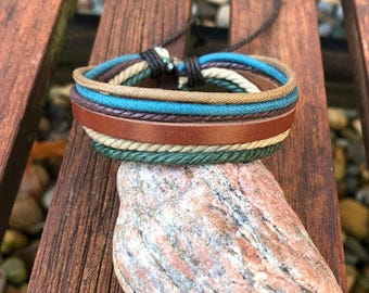 Leather Bracelet, Mens Bracelet, Hemp Bracelet, Men's Leather Bracelet, Women's Leather Braclet JLA-17