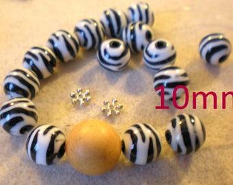 YOGA BRACELET KIT * Zebra beads and wood bead * 10 mm