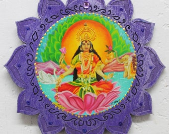 Lakshmi, Hindu Goddess Lakshmi, Goddess of wealth and prosperity, lotus plaque, purple wood plaque, Lakshmi wall hanging, Lakshmi wall decor