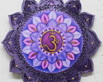 Chakra Wall Hanging,7th chakra, Crown chakra, Sahasrara plaque, , Purple wood wall art, meditation wall hanging, zen meditation plaque