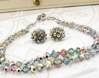Vintage Aurora Borealis Necklace and Earrings - 1950s Laguna Jewelry Set - Mad Men Gift For her - Crystal Beaded Jewelry For Vintage Wedding